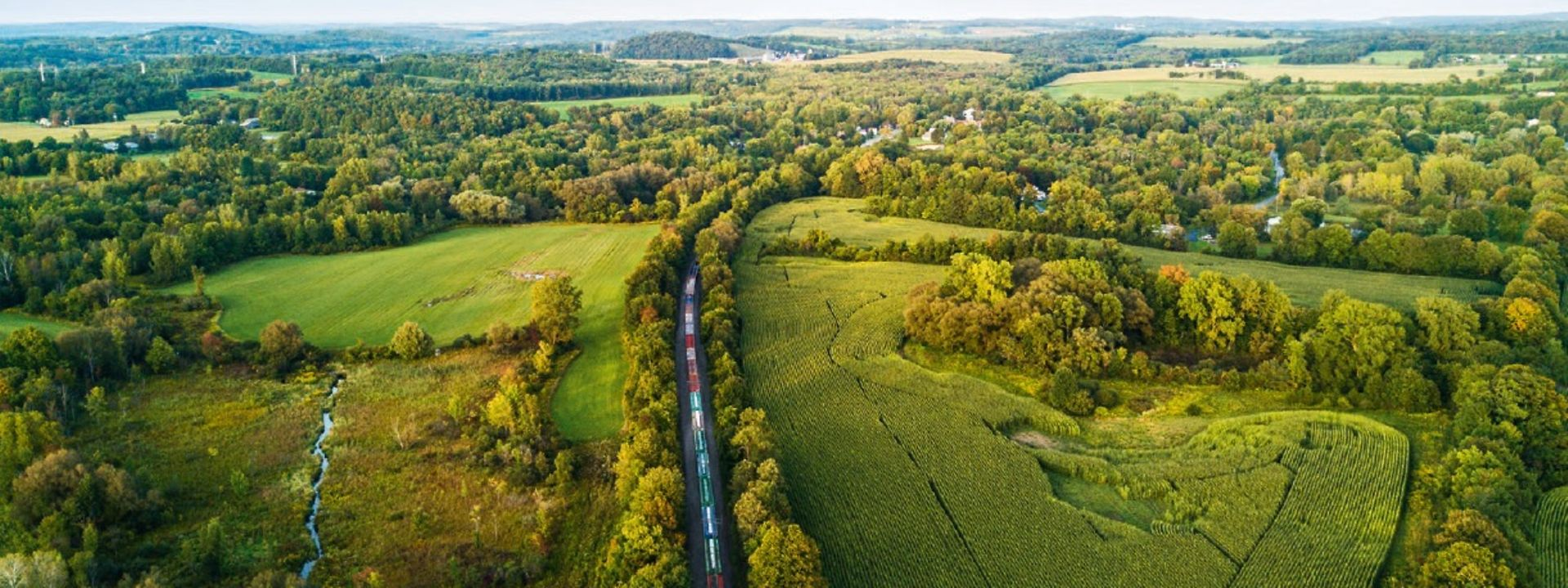 Train in green landscape from air perspective
