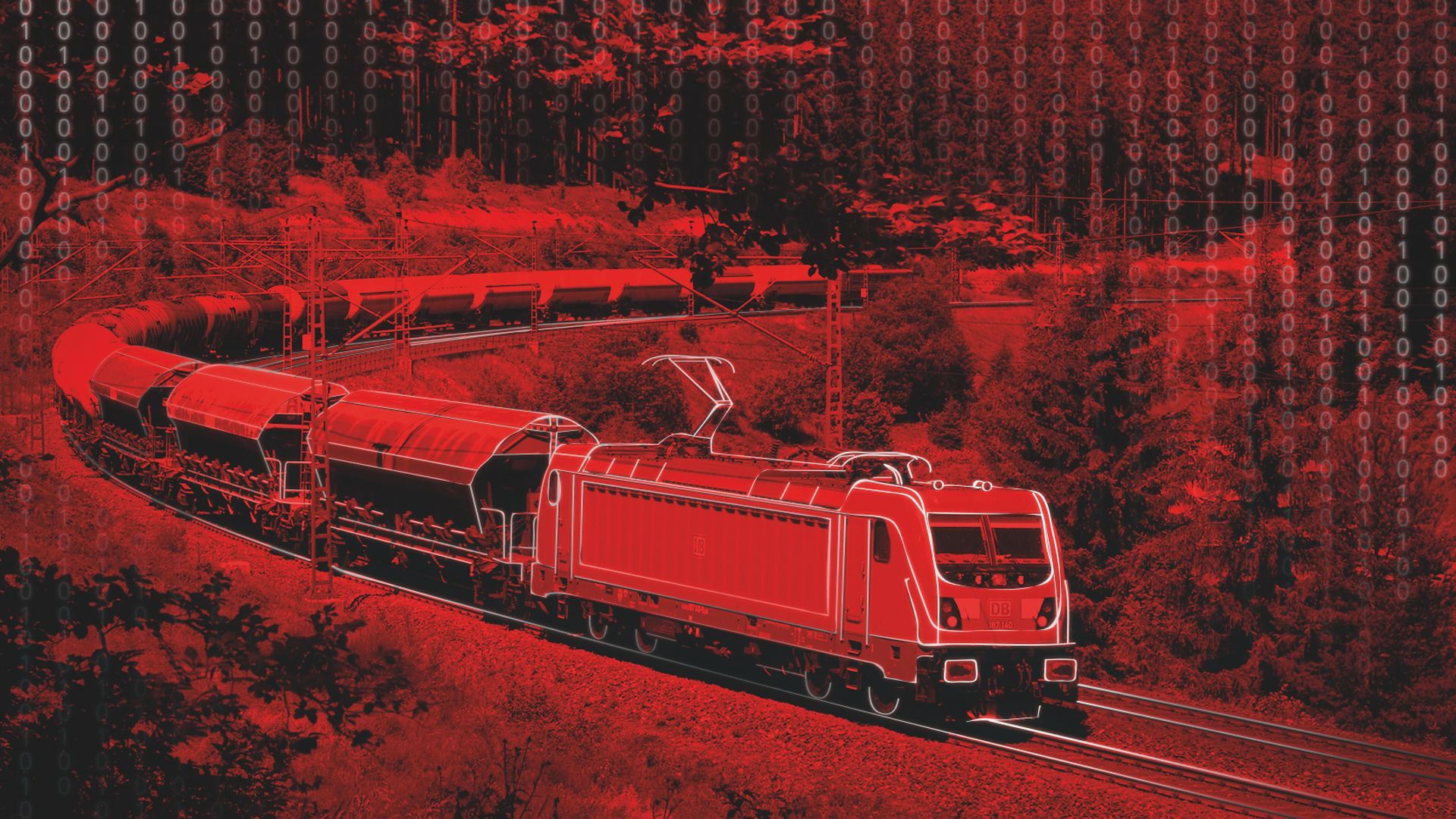 Red cooured picture of a freight train.